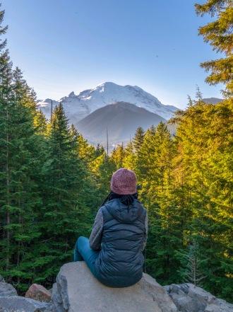 Appreciating views in Mt. Rainier National Park
